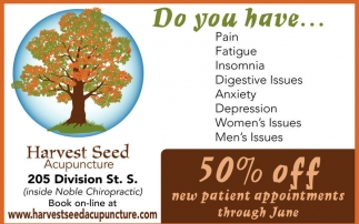 50% off new patient appointments through June, Harvest Seed Acupuncture