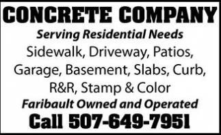 Sidewalk, Driveway, Patios, Garage, Basement, Slabs