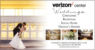 Ceremonies, Receptions, Social Hours, Groom's Dinners, Verizon Center Weddings, Mankato, MN