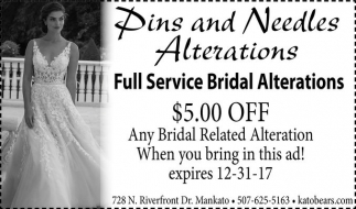 Full Service Bridal Alterations, Pins and Needles Alterations, Mankato, MN