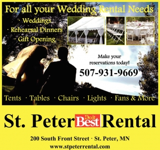 For all your Wedding Rental Needs, St. Peter Rental, Saint Peter, MN
