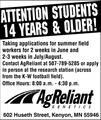 Ads For Ag Reliant Genetics in Southern Minn