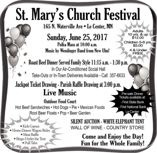 St. Mary's Church Festival, St. Mary's Church, Le Center, MN