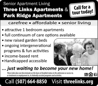 Call for a tour today!, Three Links Apartments, Northfield, MN