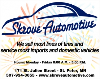 We sell most lines of tires and service most imports and domestic vehicles
