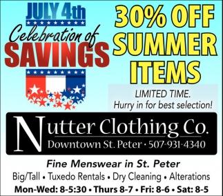 30% off summer items