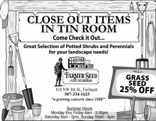 Close out items in tin room, Farmer Seed and Nursery, Faribault, MN