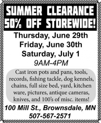 50% off storewide!, Summer Clearance - Brownsdale