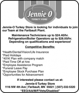 Maintenance Technicians, Refrigeration / Boiler Operators