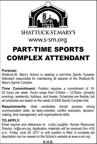 Part-Time Sports Complex Attendant