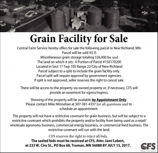 Grain Facility for Sale