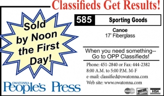 Ads For Owatonna People's Press in Southern Minn