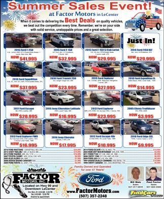 Summer sales event factor motors inc le center mn for Factor motors le center mn