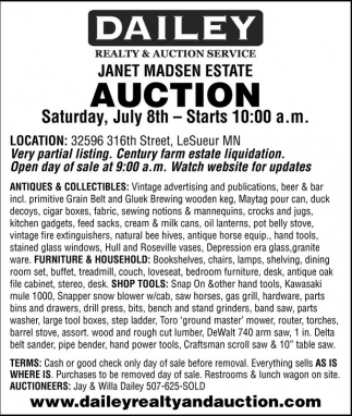 Janet Madsen Estate Auction