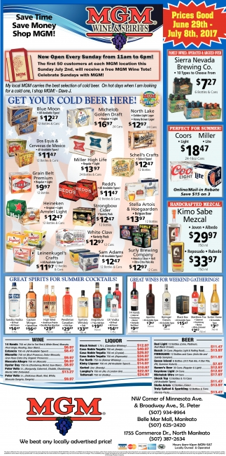 Prices Good June 29th - July 8th, 2017, MGM Wine and Spirits, Saint Paul, MN
