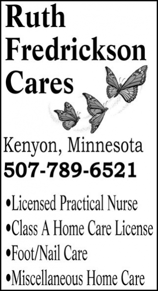 Ads For Ruth Fredrickson Cares in Southern Minn
