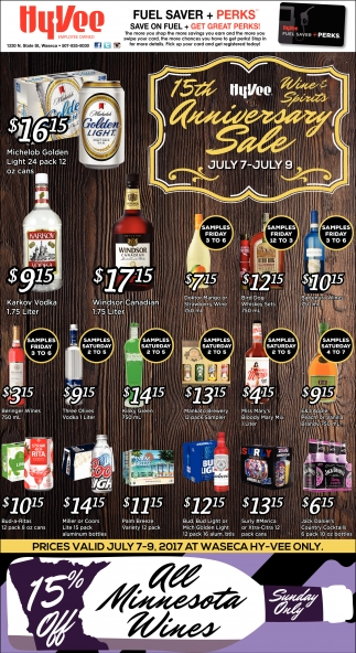 15th Hy-Vee Wine Spirits Anniversary Sale