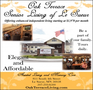 Offering enhanced independent living starting at $1,970 per month, Oak Terrace of Le Sueur, Le Sueur, MN