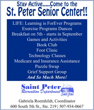 Stay Active... Come to the St. Peter Senior Center!, St. Peter Senior Center
