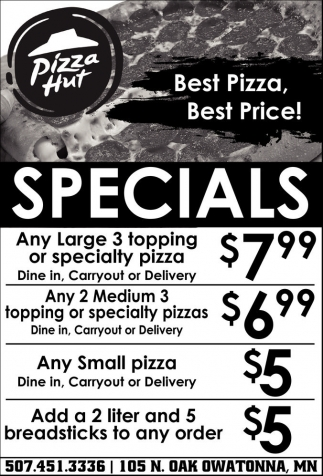 Specials, Pizza Hut - Owatonna