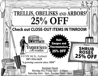Trellis, Obelisks and Arbors 25% off