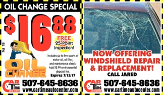 Now Replacing Windshields!