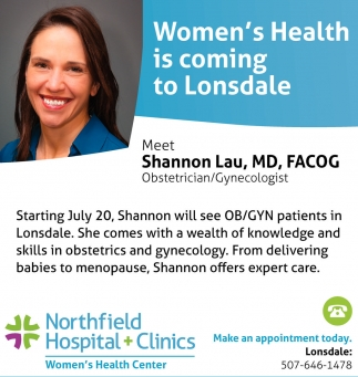 Women's Health is coming to Lonsdale, Northfield Hospital and Clinics, Northfield, MN