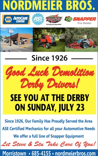 Good Luck Demolition Derby Drivers!, Nordmeier Bros, Morristown, MN