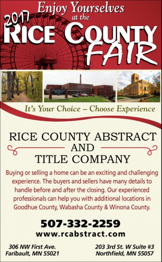 Enjoy Yourselves at the 2017 Rice County Fair, Rice County Abstract and Title Company, Faribault, MN