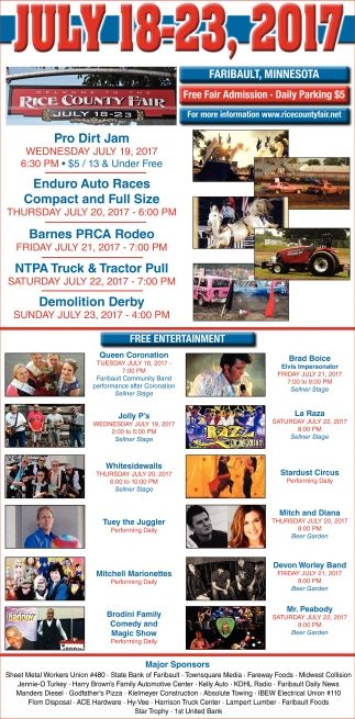 July 18-23, 2017, Rice County Fair, Faribault, MN