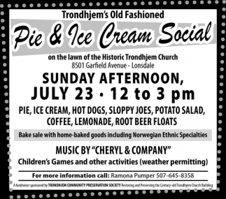 Pie & Ice Cream Social, Trondhjem Lutheran Church, Lonsdale, MN