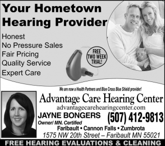 Ads For Advantage Care Hearing Center in Southern Minn