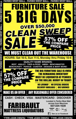 Furniture Sale 5 Big Days