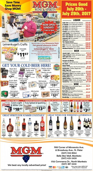 Prices Good July 20th - July 29th, 2017, MGM Wine and Spirits, Saint Paul, MN