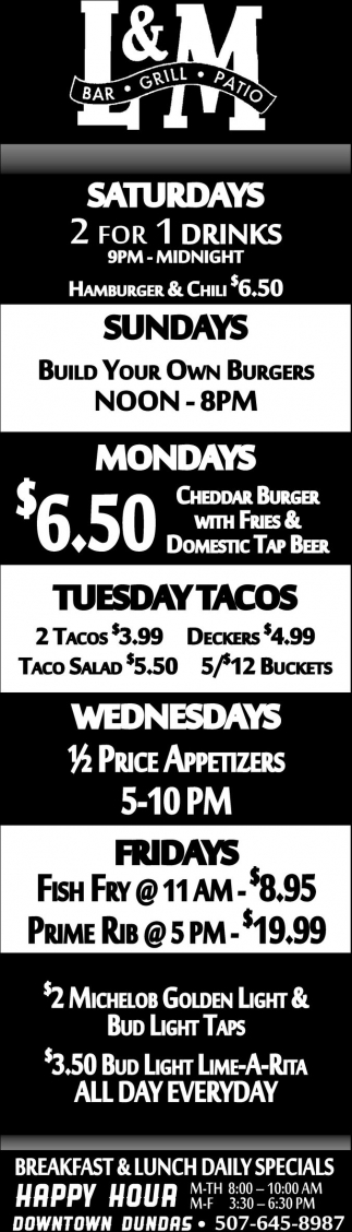Breakfast & Lunch Daily Specials
