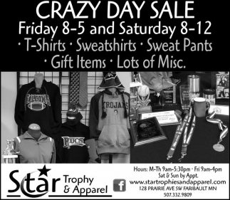 Crazy Day Sale, Star Trophy and Apparel, Faribault, MN