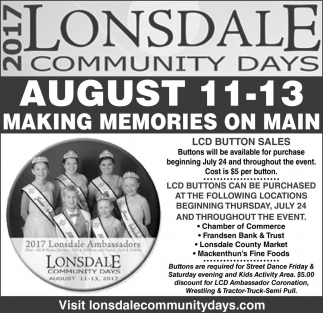 AUG 11 - 13 Making Memories on Main, Lonsdale Community Days, Lonsdale, MN
