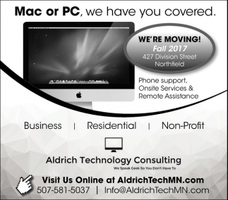 Mac or PC, we have you covered, Aldrich Technology Consulting, Northfield, MN