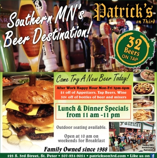 Southern Minnesota's Beer Destination!, Patrick's on Third, Saint Peter, MN