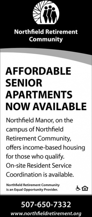 Affordable Senior Apartments Now Available, Northfield Retirement Community, Northfield, MN