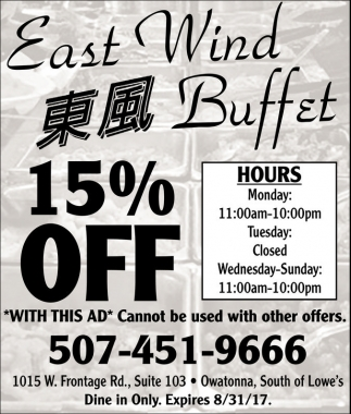 15% off, East Wind Buffet