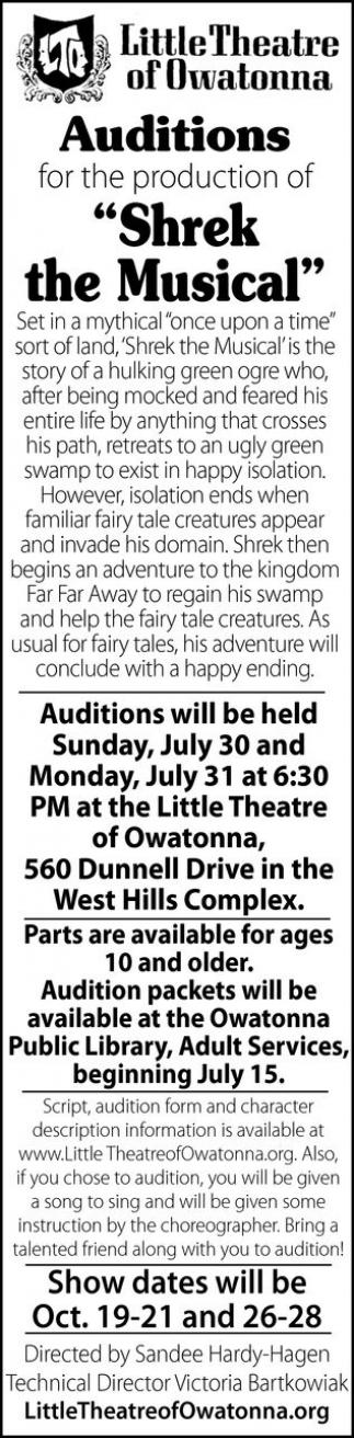 Auditions Shrek the Musical