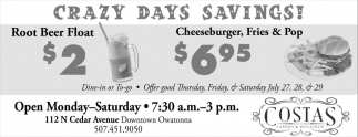 Crazy Days Savings!, Costas Candies and Restaurant, Owatonna, MN