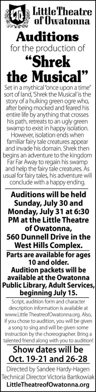Auditions Shrek the Musical, Little Theatre of Owatonna, Owatonna, MN