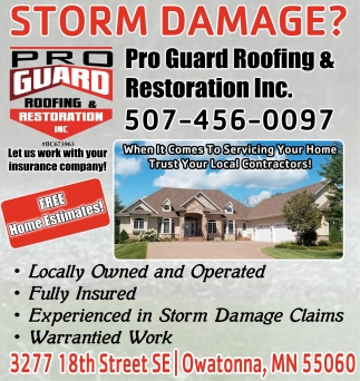 Storm Damage?, Pro Guard Roofing and Restoration, Inc, Owatonna, MN