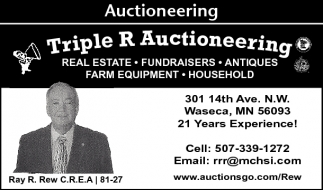 Real Estate, Fundraisers, Antiques, Triple R Auctioneering, Waseca, MN