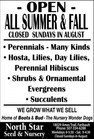 Open All Summer & Fall