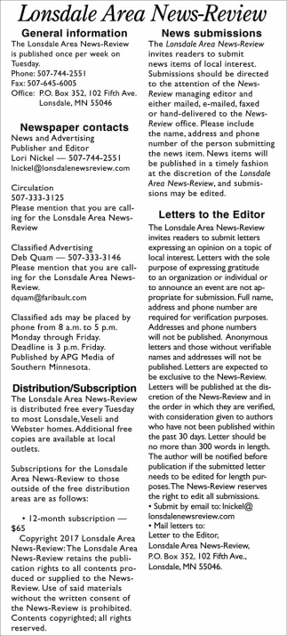 Information, Lonsdale Area News Review