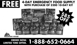 4-Day Emergency Food Supply, Mountain House