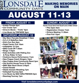 Schedule of Events, Lonsdale Community Days, Lonsdale, MN